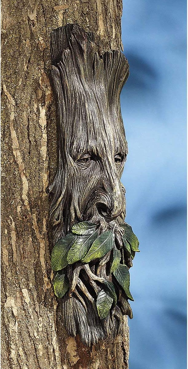 "Ebros Celtic Wiccan Forest Spirit Deity Greenman Enigma Face Wall Hanging Sculptural Decor 15"" High Tree Ents Plaque Statue Neopagan Cernunnos Horned God Green Men Tree of Life Decorative Figurines"