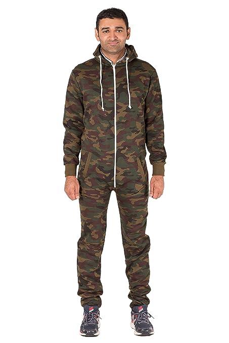 Noroze De los hombres Camo Camuflaje Onesie Encapuchado Mono corto Todo en una sola pieza pijama Jumpsuit: Amazon.es: Ropa y accesorios