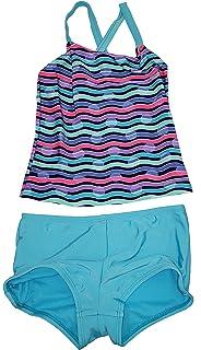 4e2eb6db45 Wonder Nation Girls Splendor Blue 2 Piece Cross-Back Tankini Boyshort  Swimsuit