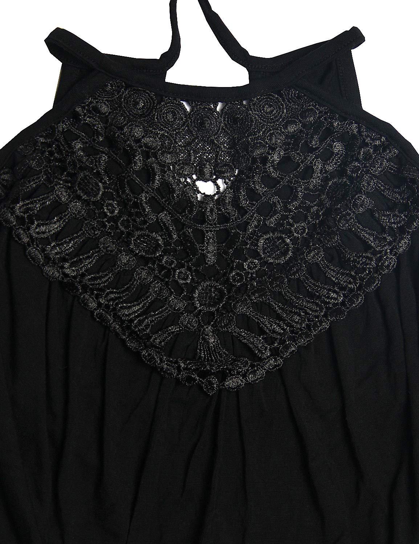 Blooming Jelly Women\'s Halter Dress Lace Sleeveless Peplum Casual Summer Maxi Dresses for Women Black,L