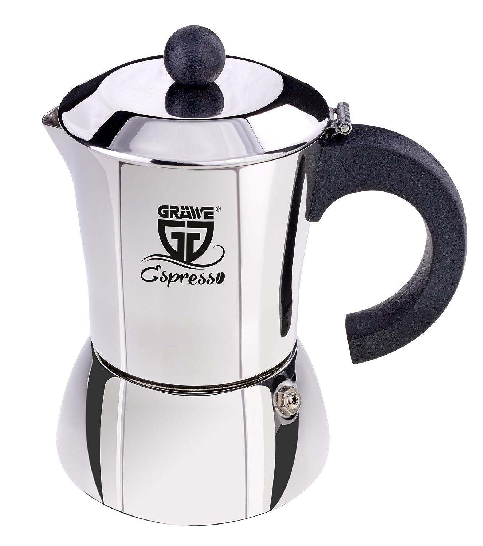 GRÄWE Espressokocher aus Edelstahl (0% Aluminium), Inhalt ca. 300 ml od. 6 kl. Tassen, auch für Induktion geeignet