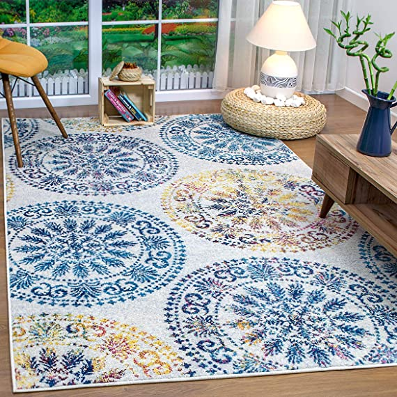 Antep Rugs Elite Collection Bohemian Geometric Circle Indoor Area Rug Blue