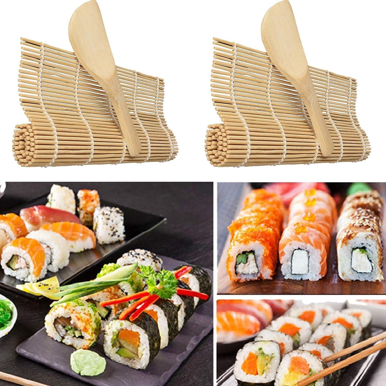 Kit para Hacer Sushi Juego de Sushi Esterilla de Bamb/ú para Sushi Fabricaci/ón de Sushi de Bamb/ú Principiante Bricolaje De Bamb/ú Del Balanceo De La Estera Por Sushi Esteras y Utensilios de Sushi 5PCS