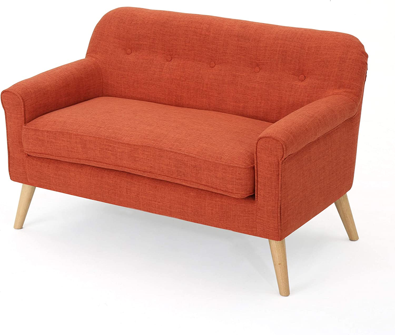 Christopher Knight Home Mariah Mid-Century Modern Loveseat, Muted Orange