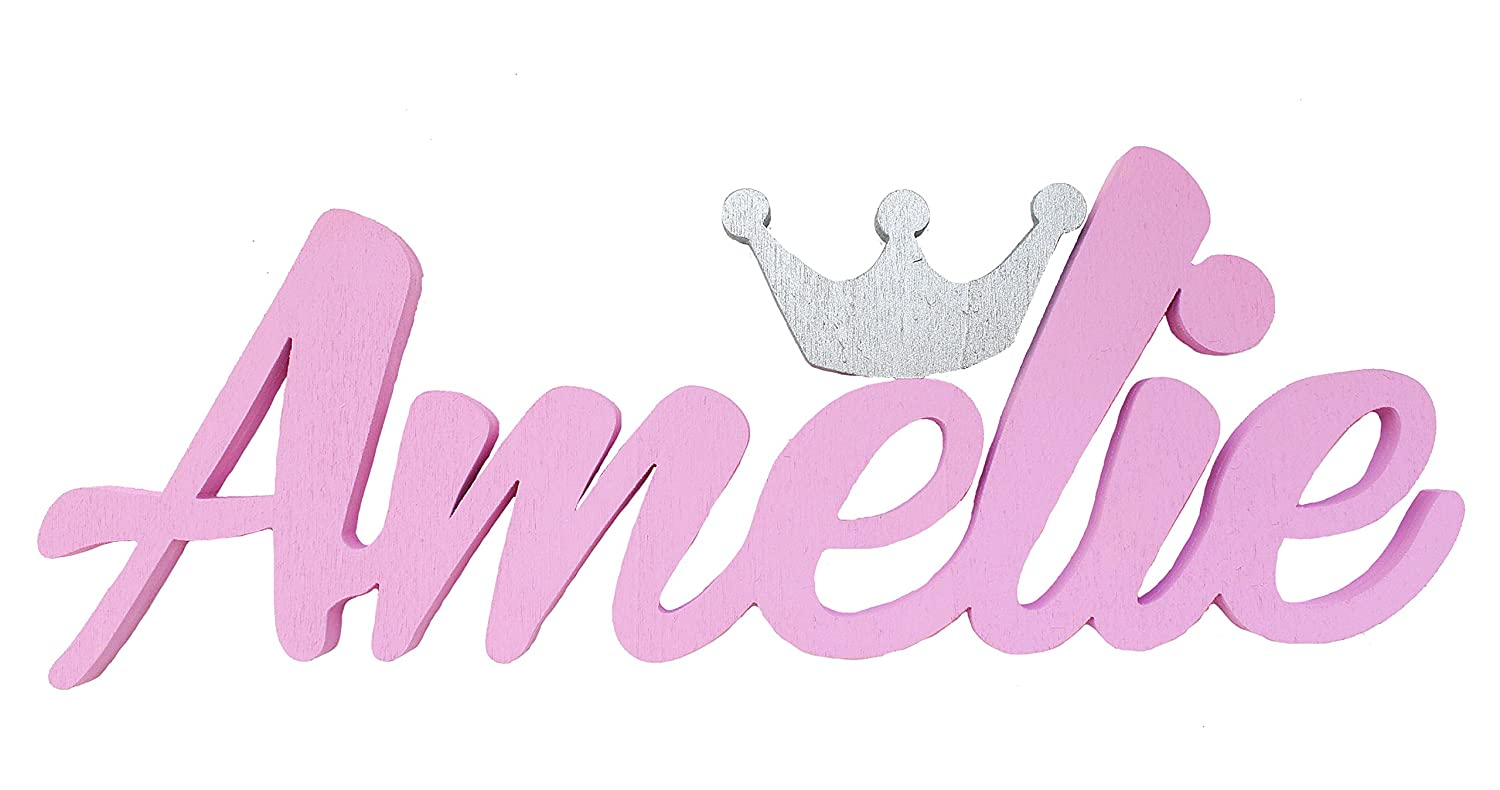 Girl Name with Silver Crown Door Plaques, Amelie, Christening Gifts,Personalisation ,Contact the Seller at the link below to provide the name, colour and size and being quoted,Customisable option Mia Studio