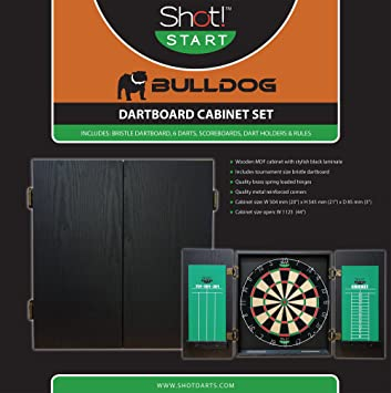 Dart Cabinet Set By Shot Darts  Wooden 20u201d X 21u201d Bulldog Dartboard And