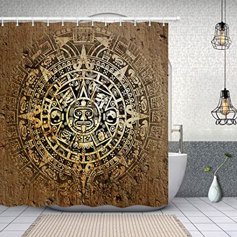 Remarkable Nymb Native American Bath Curtain Decor Ethnic Indian Style With Aztec Calendar In Vintage Stone Polyester Fabric Shower Curtains Ancient Bathroom Download Free Architecture Designs Remcamadebymaigaardcom