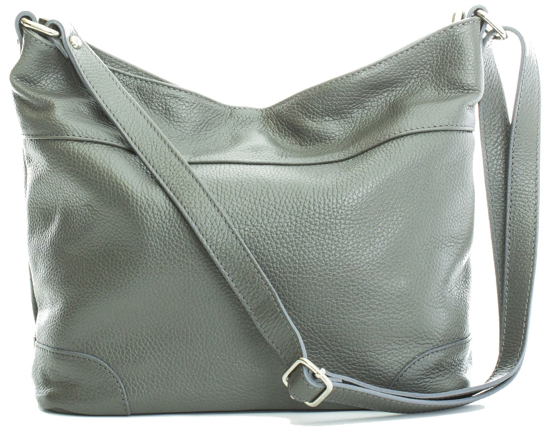 Big Handbag Shop Womens Genuine Leather Designer Medium Hobo Shoulder bag (Grey)