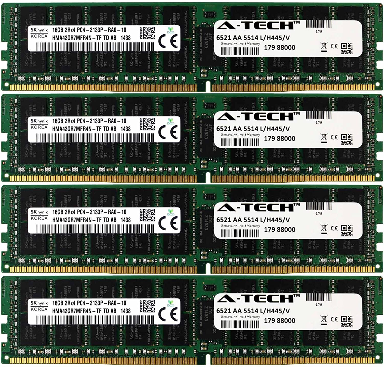 A-Tech Hynix IC DDR4 64GB Kit 4 x 16GB 2Rx4 PC4-17000 Dell PowerEdge R730xd R730 R630 T630 R430 R530 C4130 SNP1R8CRC/16G A7910488 A7945660 370-ABUK SNP1R8CRC/16G-A1 1R8CR RDWTP 01R8CR Memory RAM
