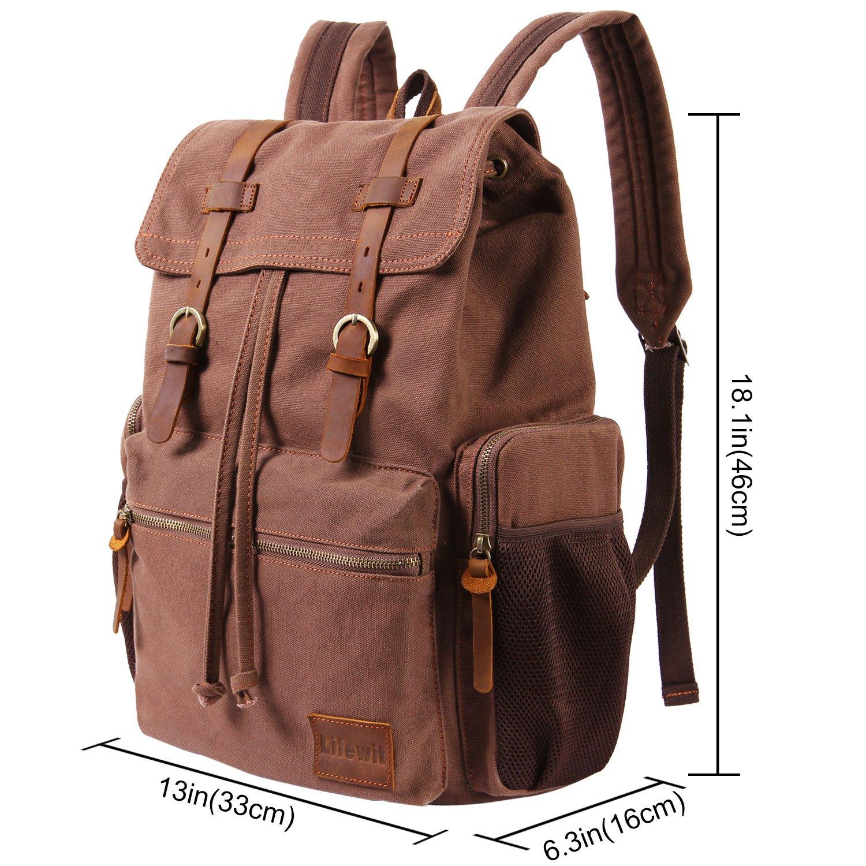 e729f48897 Amazon.com  Lifewit 17 Inch Canvas Laptop Backpack - Unisex Vintage  Leather