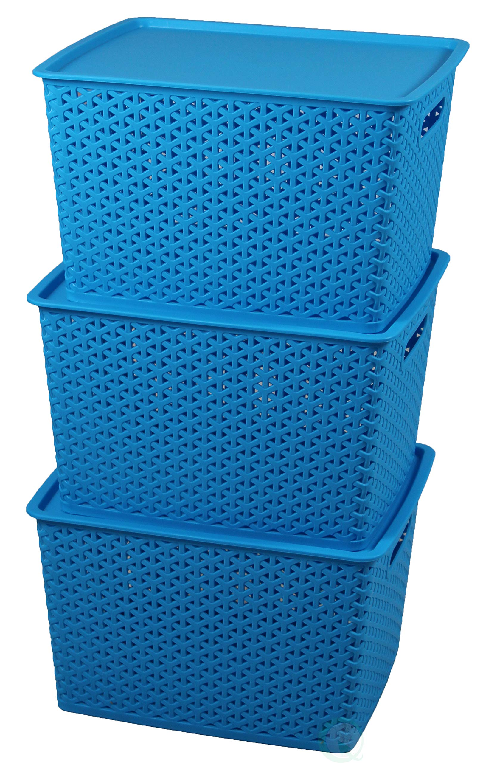 Basicwise QI003214.3 Plastic Blue Storage Container Box with Lid (Set of 3), by Basicwise