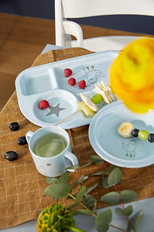 L/ÄSSIG Kindergeschirr Set Sch/üssel Tasse L/öffel Men/üteller rutschfest sp/ülmaschinengeeignet Melamin//Dish Set More Magic Seal blau