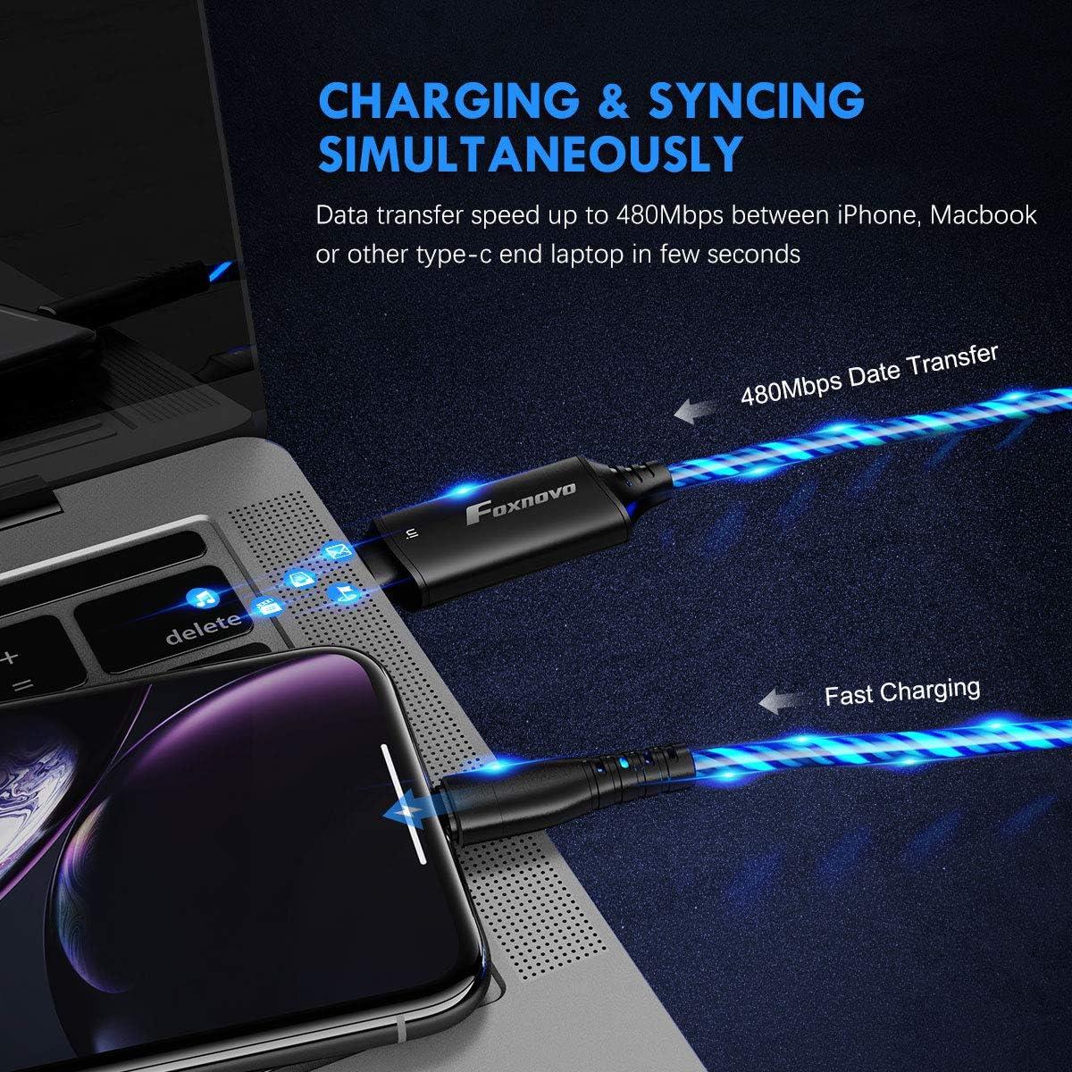 MFi USB C to Lightning EL Flowing Charging Cable, EL Flow Charger Cable Lightning to USB-C Cable (Blue)