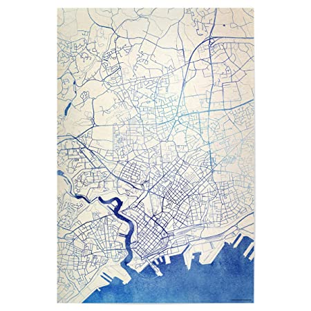 Artboxone Poster Cities Brest France Blue Infusion Map Ii 60x40 Cm