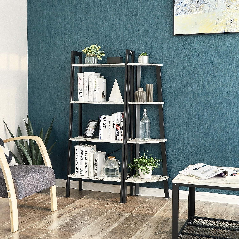 VASAGLE Estantería de Esquina, Mueble de Oficina de 4 Niveles, Librería en Forma de Escalera, para Hogar, Sala de Estar, Dormitorio, Balcón, ...