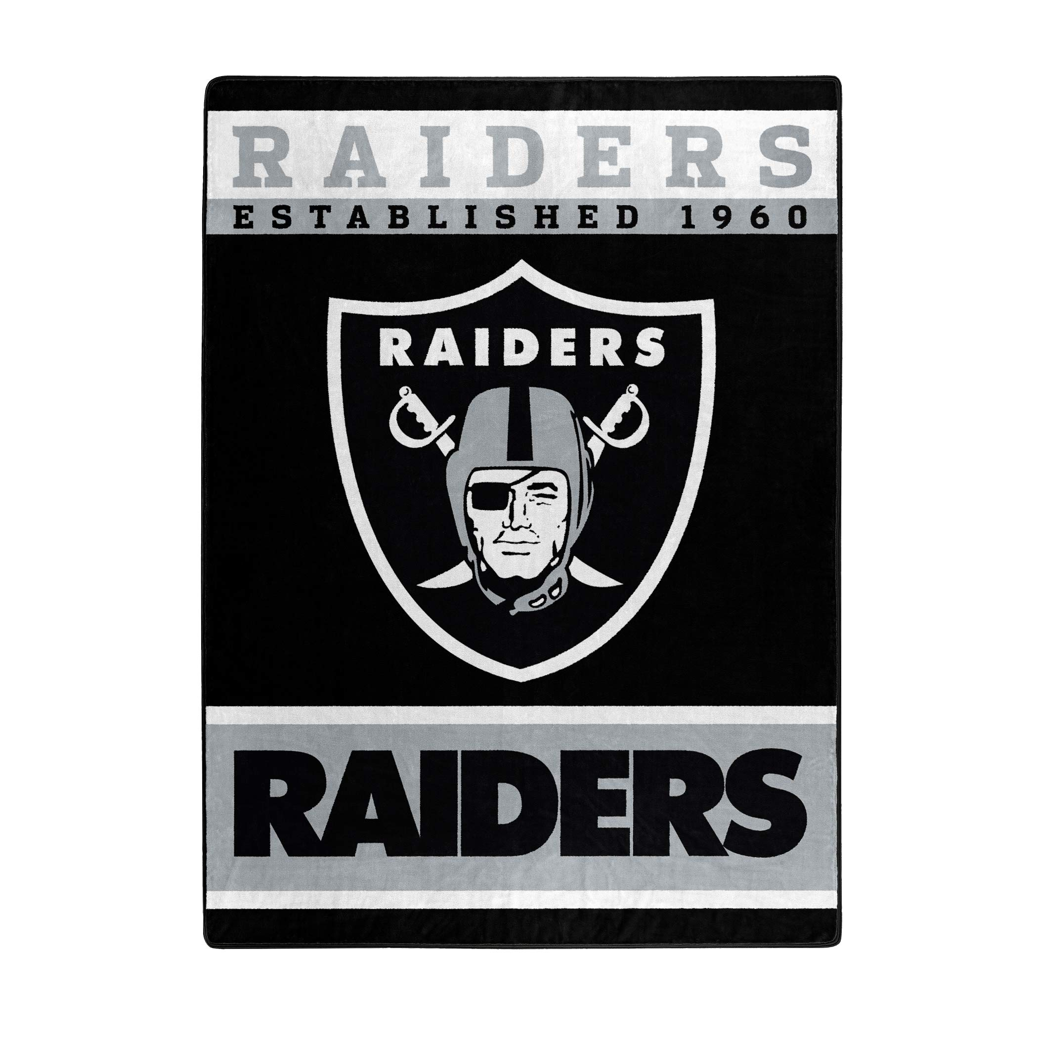 The Northwest Company Officially Licensed NFL Oakland Raiders 12th Man Plush Raschel Throw Blanket, 60'' x 80'', Multi Color by The Northwest Company