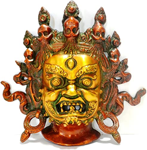 CraftVatika Tibetan Mahakala Wall Sculpture – Old Vintage Hindu God Shiva Ganesh Wall Decor Hanging Mask,Bali Padmasambhava Nepalese Wall Art