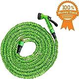 50 pieds Tuyau flexible de jardin extensible de 15 mètres | Triple couche de latex naturel, flexible, extensible | 7 Réglages de pulvérisation | Tuyau expansible | déroulable jusqu'à 15 mètres