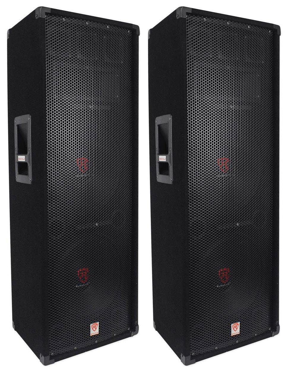 (2) Rockville RSG12.2 Dual 12 2000 Watt 3Way 4-Ohm Passive DJ/Pro Audio Speaker by Rockville
