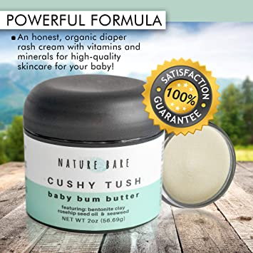 Nature Bare All Natural Diaper Rash Cream with Bentonite Clay, Aloe, and Rosehip Oil