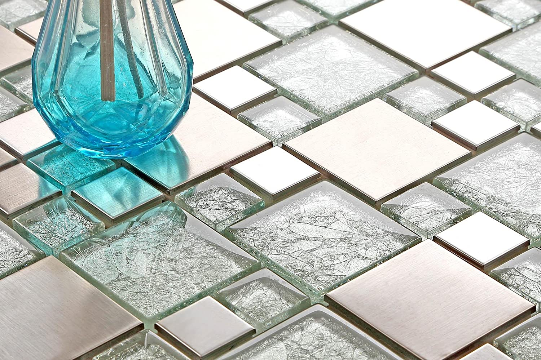 MT0048 Glas und Edelstahl Mosaik Fliesen Matte Silber mit Steinen in Zwei Gr/ö/ßen Geb/ürstet und asiatische Struktur