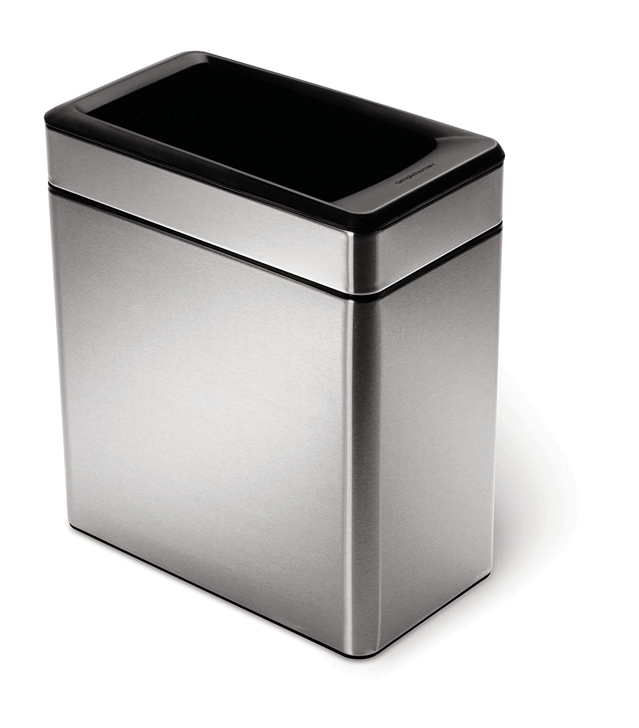 simplehuman Profile Open Trash Can, Brushed Stainless Steel, 10 L / 2.6 gallon CW1225