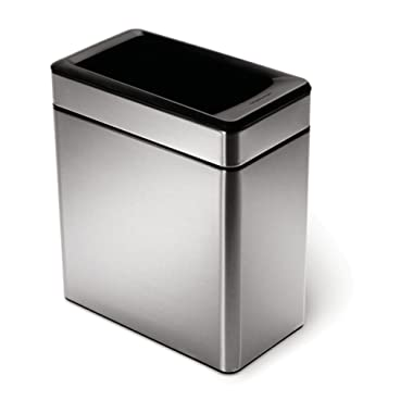 simplehuman Profile Open Trash Can, Stainless Steel, 10 L / 2.6 Gal