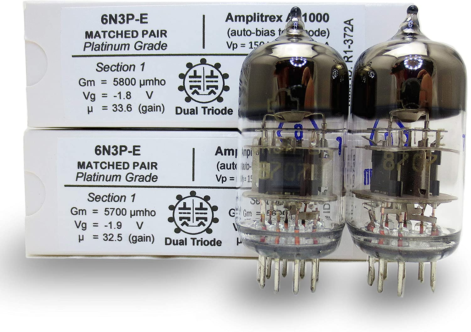 Riverstone Audio, 6N3P-E Matched Pair (2 tubes) - Vintage NOS Russian Vacuum Tubes Replacement for 6N3 / 6N3P / 5670 / 5670W / 396A / 2C51 - Amplitrex Tested/Matched - Platinum Grade Pair (6N3P-E)
