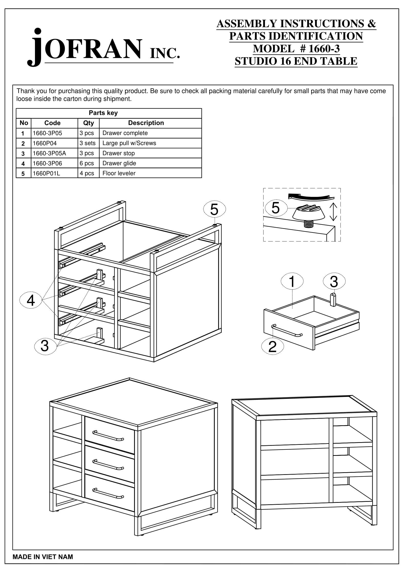 Jofran: 1660-3, Studio 16, Drawer End Table, 26''W X 24''D X 24''H, Studio 16 Finish, (Set of 1)