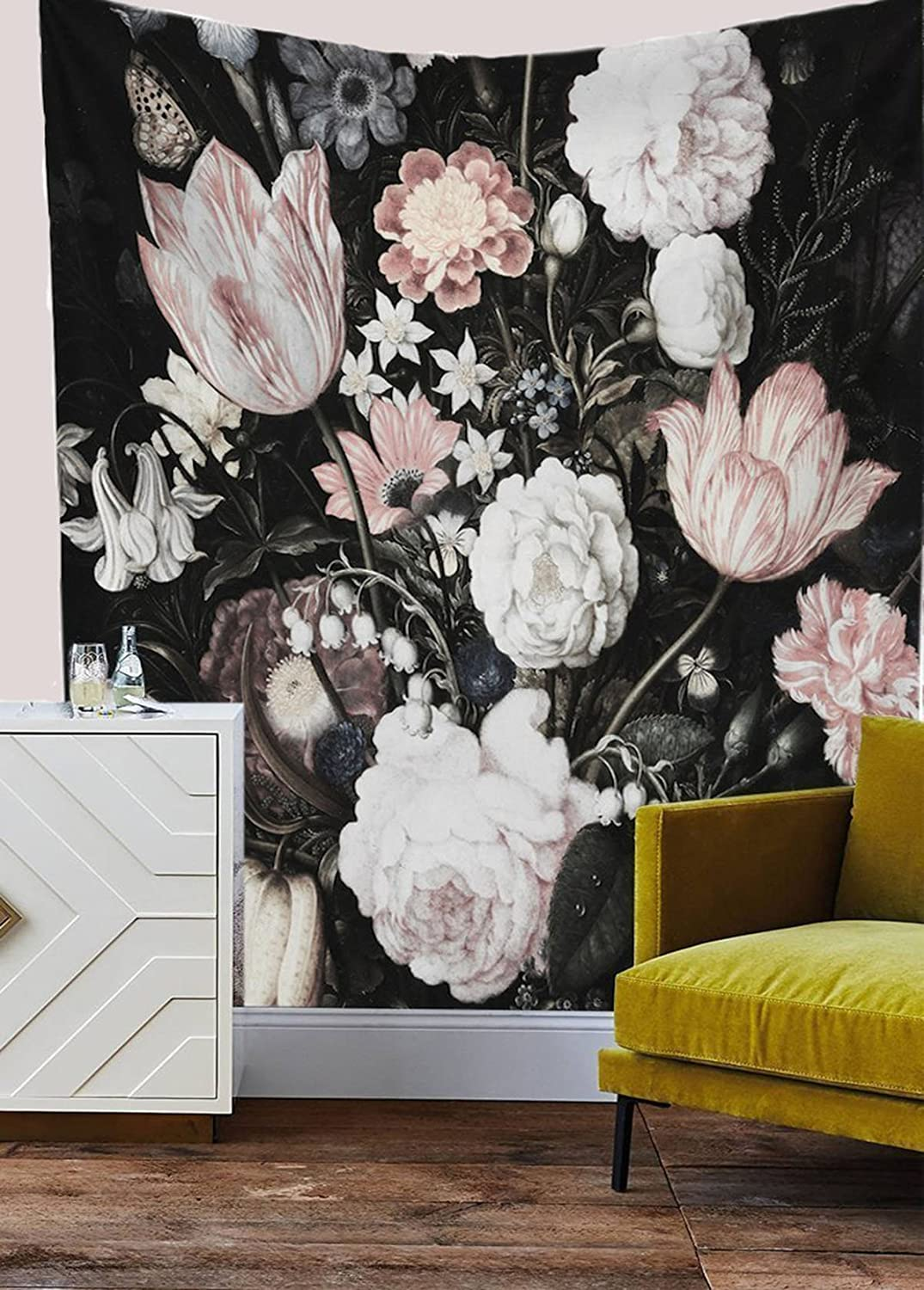 Shukqueen Tapestry, Black Blossoms Beautiful Flowers Wall Hanging Floral Tapestry Fabric Wallpaper Home Decor 51H x 60W