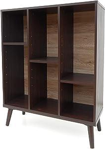 Christopher Knight Home Elizabeth Mid-Century Faux Wood Bookshelf with Sanremo Oak Backing, Walnut / Sanremo Oak