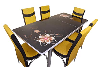 Loyal Furnitures Black Magic 6 Seater Extendable Digital Print Tempered Glass Top Dining Table With 6 Chairs 6 Seater Dining Set Dining Room Furniture Amazon In Home Kitchen