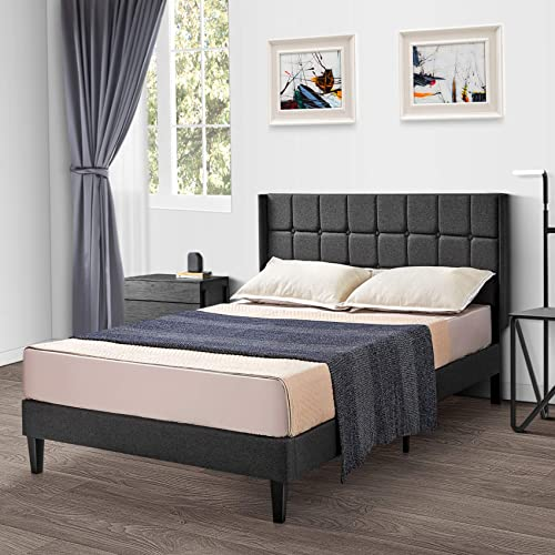 Kealive Queen Bed Frame Wingback Platform Bed