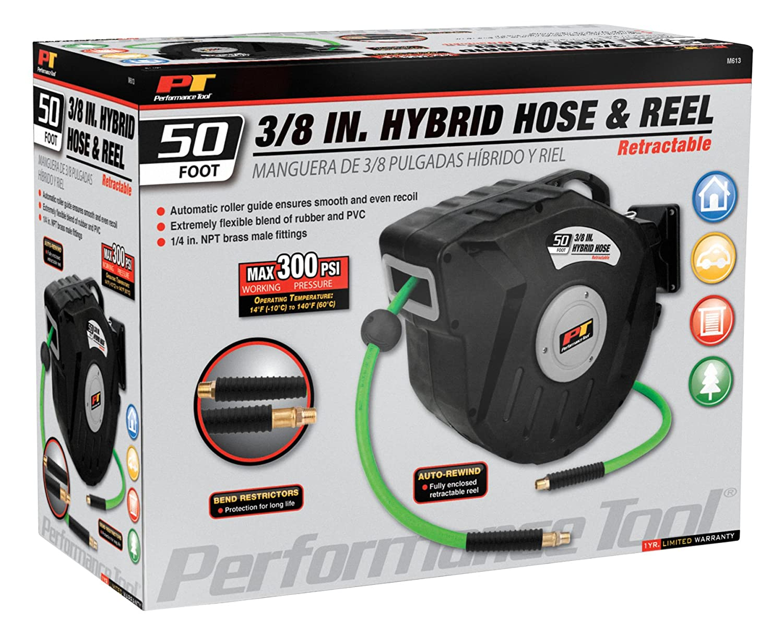 Performance Tool M655 65 x 3//8 Heavy Duty Auto Rewind Hose Reel