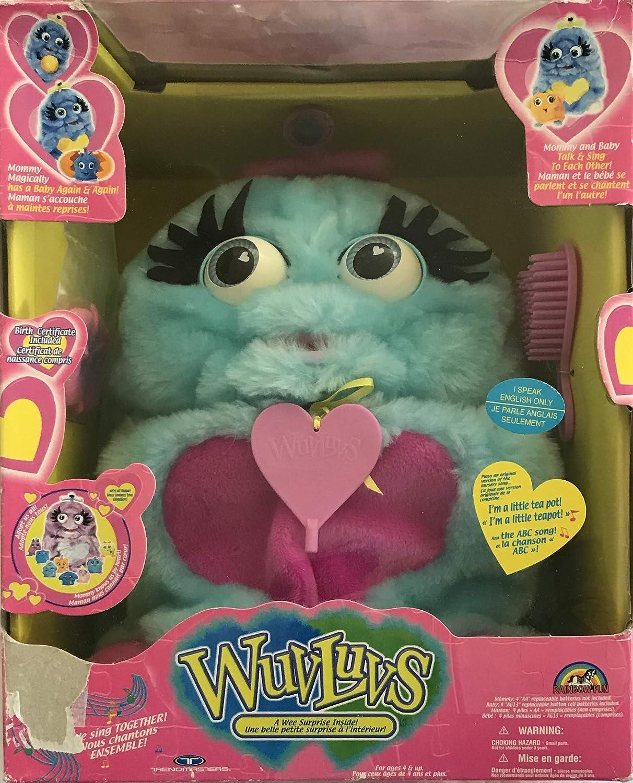 Amazon.com: Wuvluvs Rainbow - Figura de peluche azul y rosa ...
