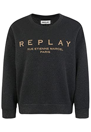 ee93b25414 Replay W3114 .000.22672 Sweat-Shirt, Noir (Black Lurex 40), X