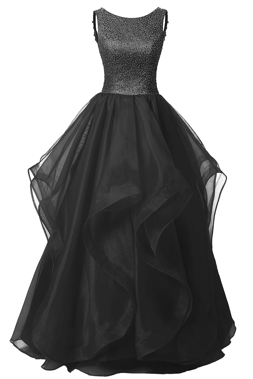 Dresstell(ドレステル) 発表会 演奏会ドレス ふわふわオーガンジ ビーズ付き オープンバック レディース B018NJNEQQ JP25W|ブラック ブラック JP25W
