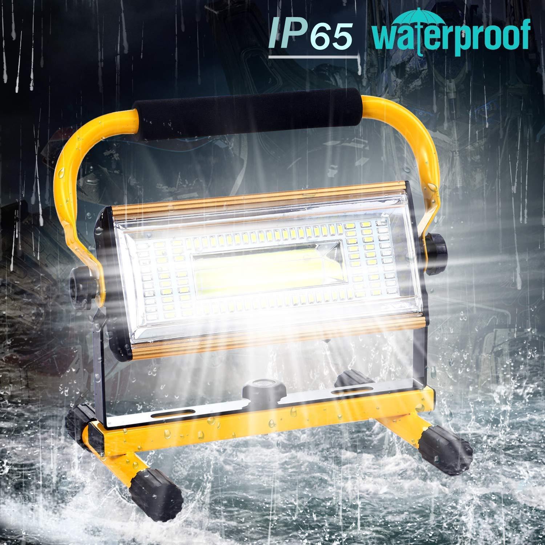 IP65 Etanche Eclairage de Travail avec Support Rotatif 6 Luminosit/é R/églable Projecteur LED Chantier 5000K Blanc Froid Port de charge USB 100W 3000LM Lampe de Travail Rechargeable Portatif