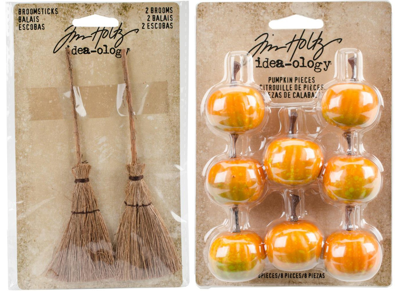 Tim Holtz 2017 Halloween - Broomsticks and Pumpkin Pieces - Miniature Brooms and Pumpkins Tim Holtz Advantus