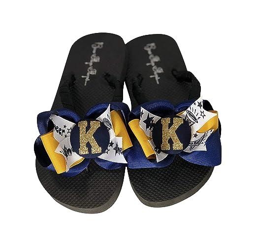 abcdb9419a02b Amazon.com  Cheer Flip Flops - Navy   Gold Glitter- Choose your ...