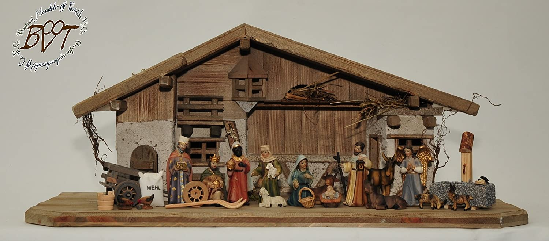 ÖLBAUM-Krippe,historische Holz-Weihnachtskrippe, mit GRANITBRUNNEN Wassergrand + Premium-DEKOSET Krippenstall, MASSIVHOLZ GEBEIZT