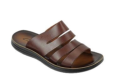 ec17134e37663 New Mens Genuine Leather Sandals Beach Walking Jesus Slippers Slider Black  Brown  DK-A12