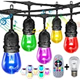 Outdoor String Lights, Patio Lights GANA 48/24FTS Music Flash RGBW Colourful, Safe 12V Low Voltage LED Shatterproof Bulbs Con