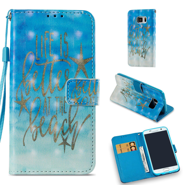 Samsung Galaxy S7 Hü lle Leder Flip Case, QFUN Glitzer 3D Muster Design PU Leder Tasche Schutzhü lle Bookstyle Klappbar Brieftasche Lederhü lle Magnetverschluss Standfunktion Klapphü lle mit Kartenfach Stoß fest Anti-Rutsch Vollsc