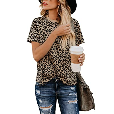 Blooming Jelly Womens Leopard Print Tops Short Sleeve Round Neck Casual T Shirts Tees at Women's Clothing store
