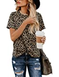 Blooming Jelly Womens Leopard Print Tops Short Sleeve Round Neck Casual T Shirts Tees