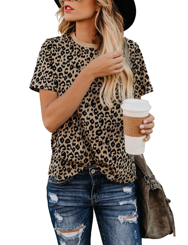 BMJL Women's Casual Cute Shirts Leopard Print Tops Basic Short Sleeve Soft Blouse(M,Leopard) by BMJL