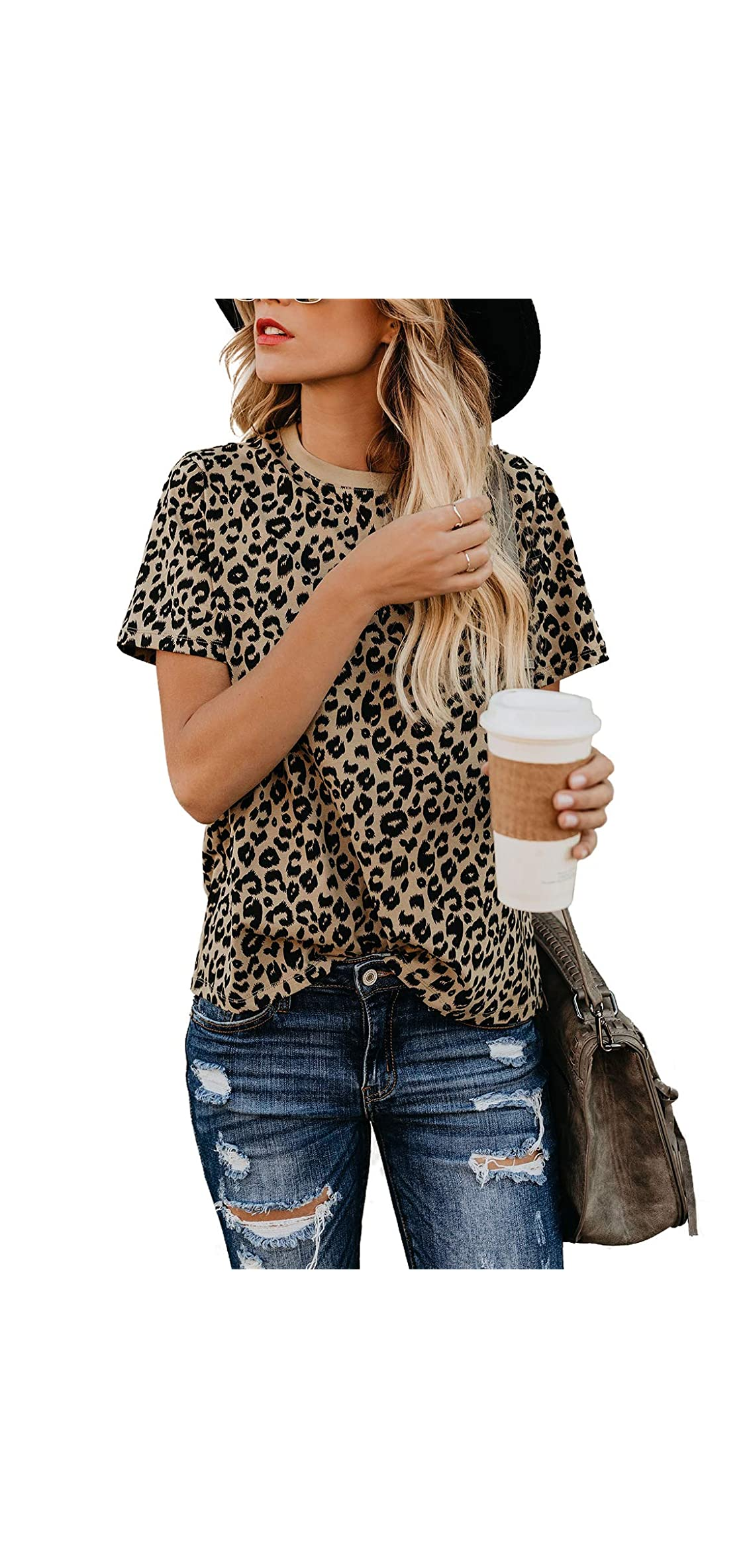 Womens Leopard Print Tops Short Sleeve Round Neck