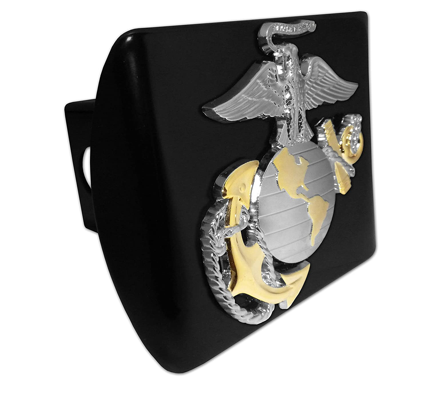 Ultra Premium US Marine Silver /& Gold Emblem on Black METAL Hitch Cover