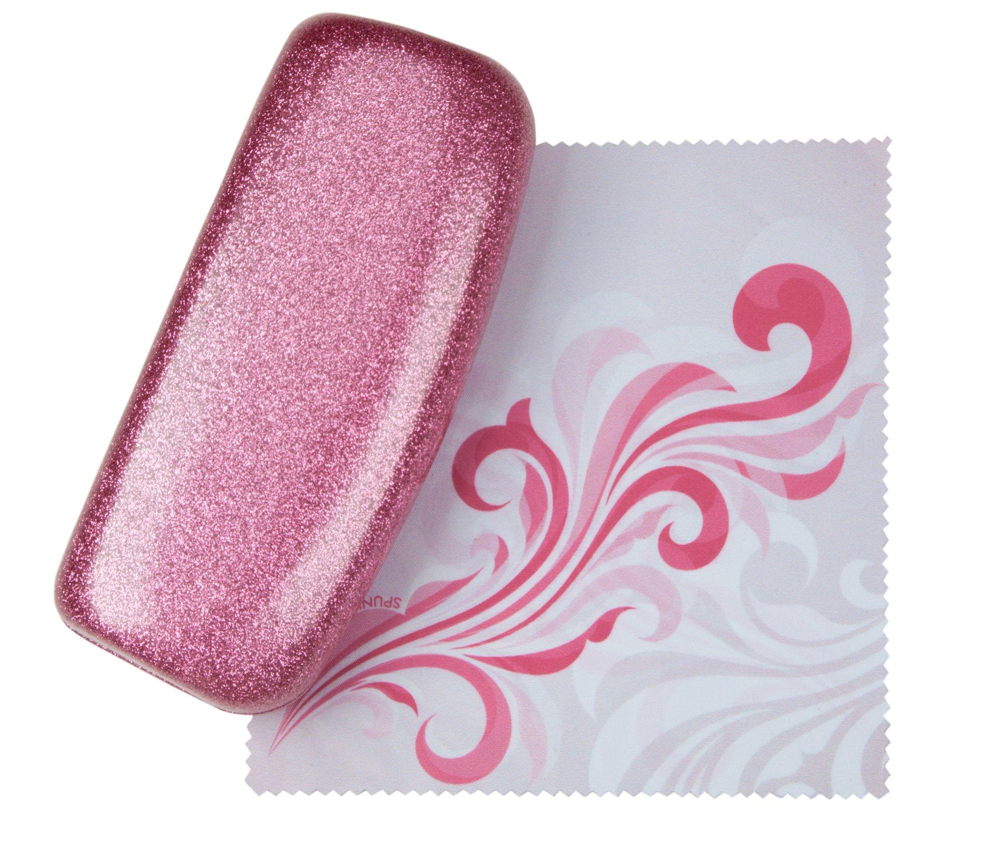 Poetic Pink Medium Premium Fashion Women's Hard Eyeglasses Case By Spunky Soul | Glitter Light Pink | Bonus Cleaning Cloth
